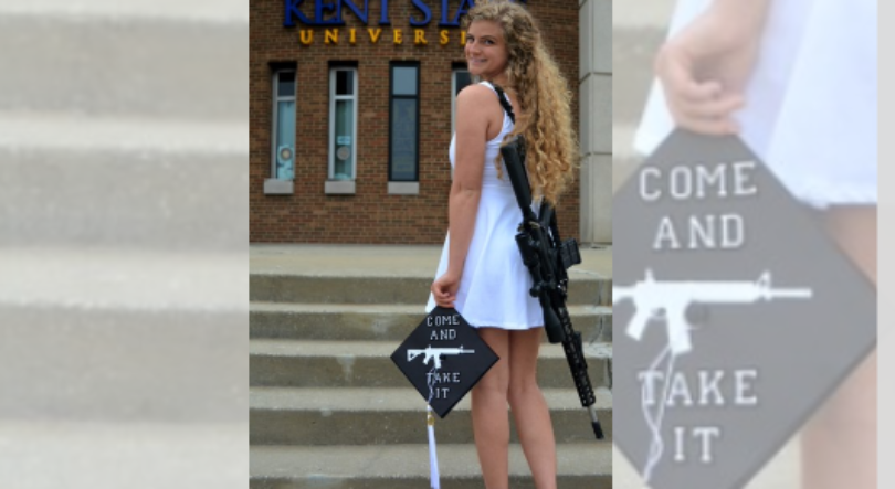 College grad wears gun holster with AR-10 in her graduation photos